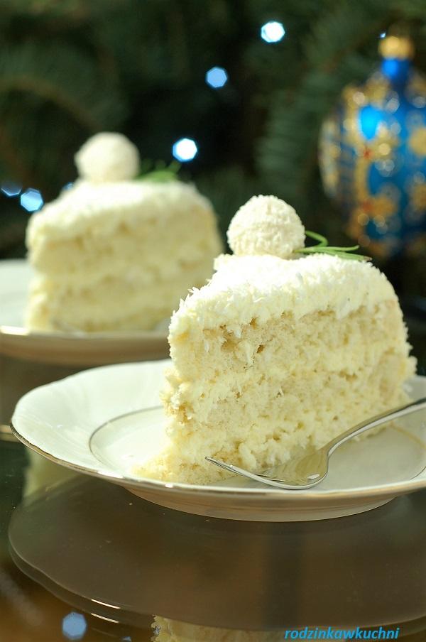 tort raffaello, tort migdałowo-kokosowy, tort na biszkopcie