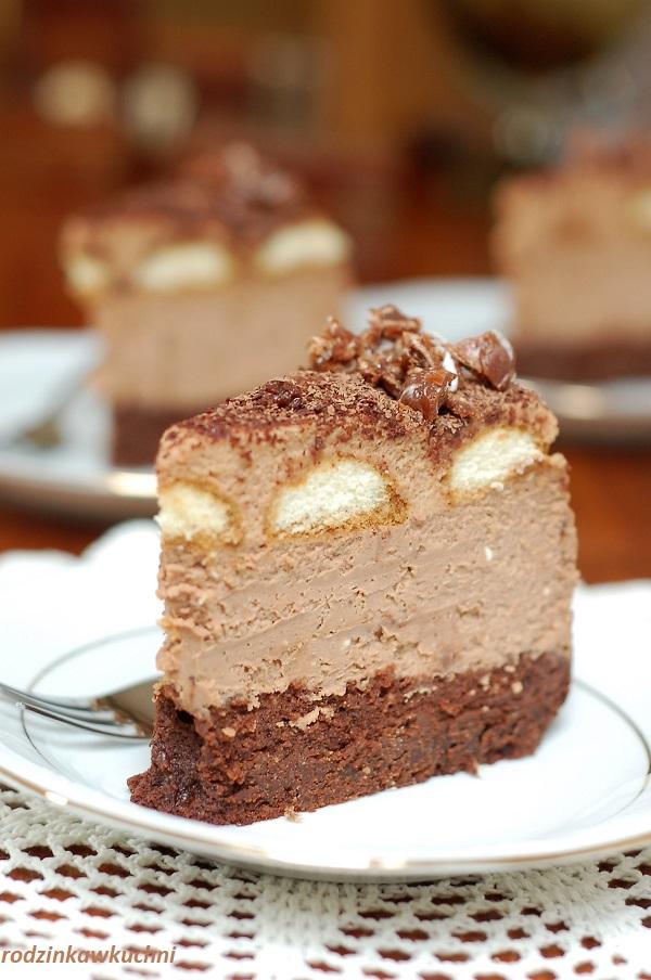 Sernik kukułka, sernik czekoladowy na spodzie brownie z musem kukułkowym