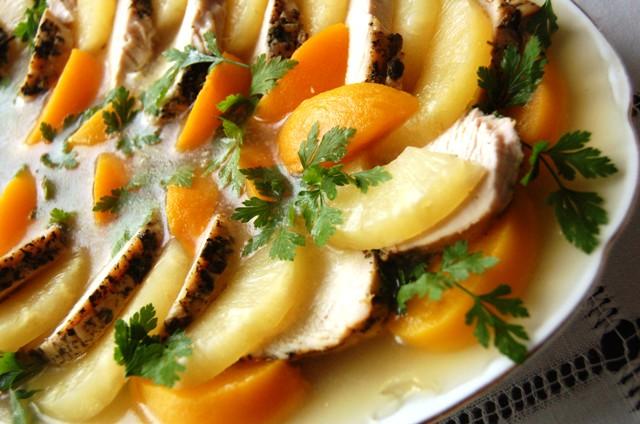 indyk w galarecie_mięso z owocami_dania z drobiu