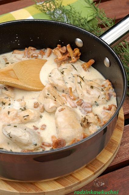 kremowy kurczak z estragonem i kurkami_kurczak w sosie śmietankowym_szybki obiad_obiad na niedzielę