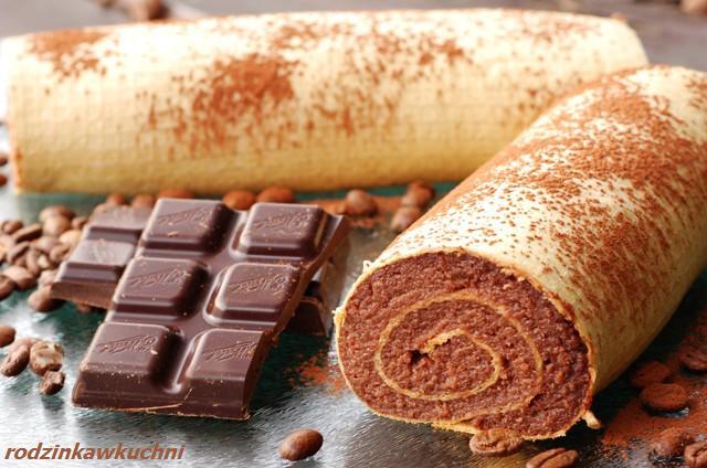 rolada w waflu_ciasto z kremem_ciasto bez piekarnika_rolada