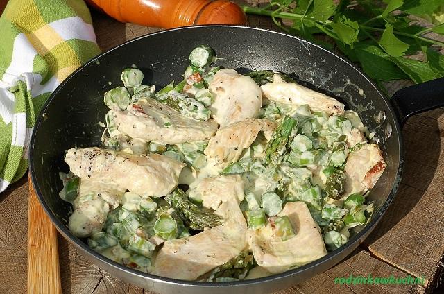 sznycle z indyka w sosie śmietankowym_danie ze szparagami_niedzielny obiad_danie z drobiu