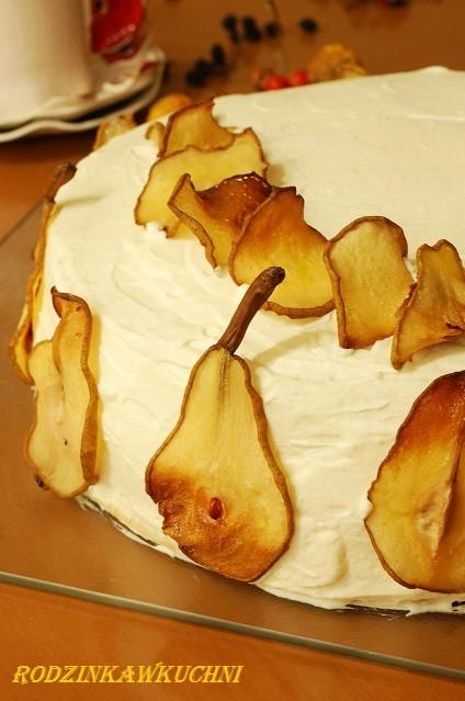tort kajmakowy z gruszakmi_tort kremowy_tort amaretto_tort na specjalne okazje