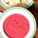 Wiśniowa zupa mleczna z ziemniakami i okrasą