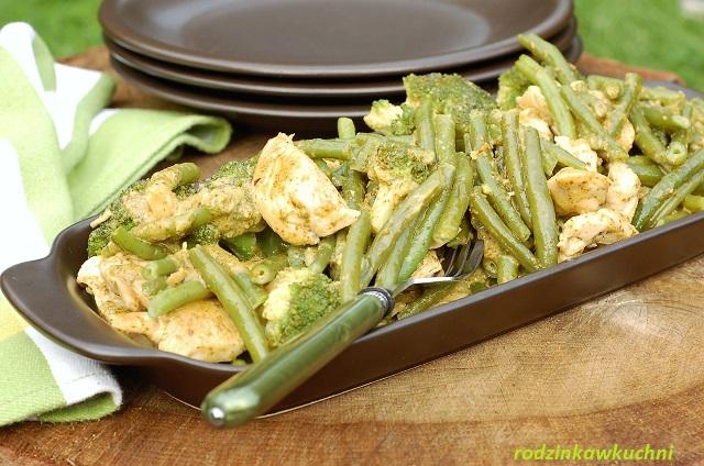 zielony kurczak_kurczak z fasolą, brokułami i pesto_błyskawiczny obiad